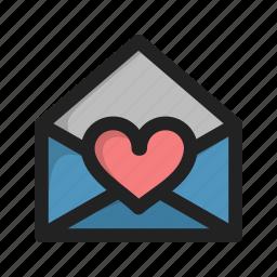 envelope, favorite, heart, letter, love, mail icon