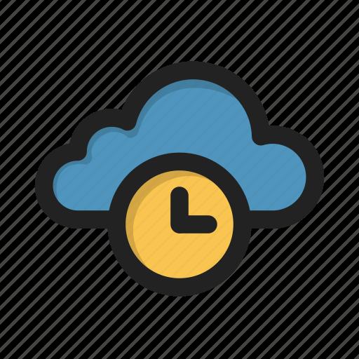 clock, cloud, storage, time, wait icon