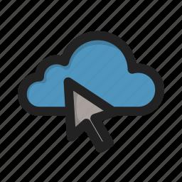 click, cloud, cursor, storage icon