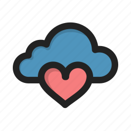 cloud, favorite, heart, love, storage icon