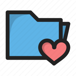favorite, folder, heart, love, package icon