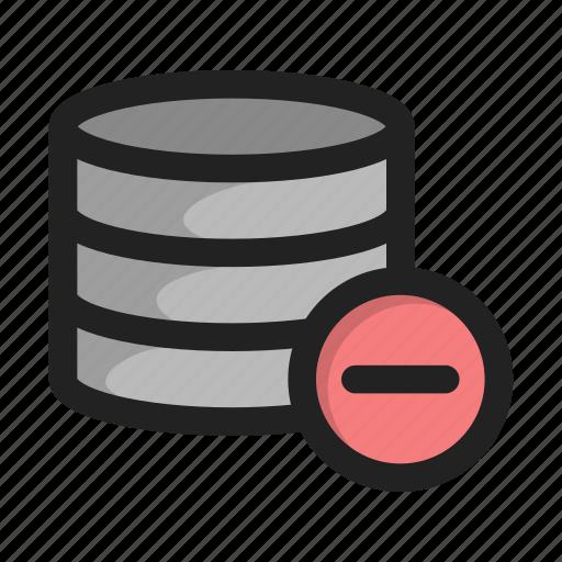 cross, database, delete, hide, minus, server, storage icon