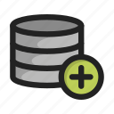 add, create, database, hd, new, plus, server icon