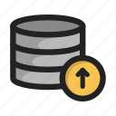 arrow, database, hd, server, storage, up, upload icon