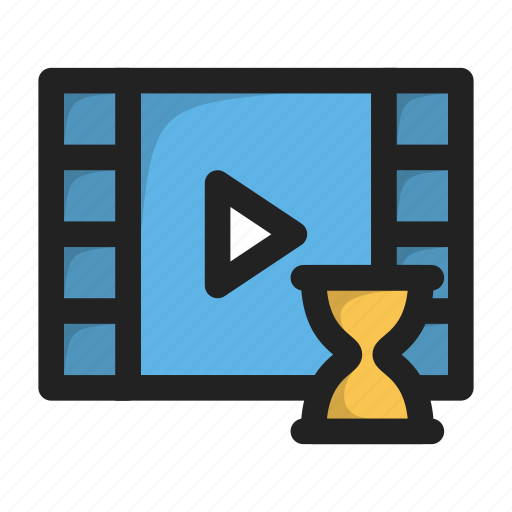 clock, movie, paly, time, video, wait icon