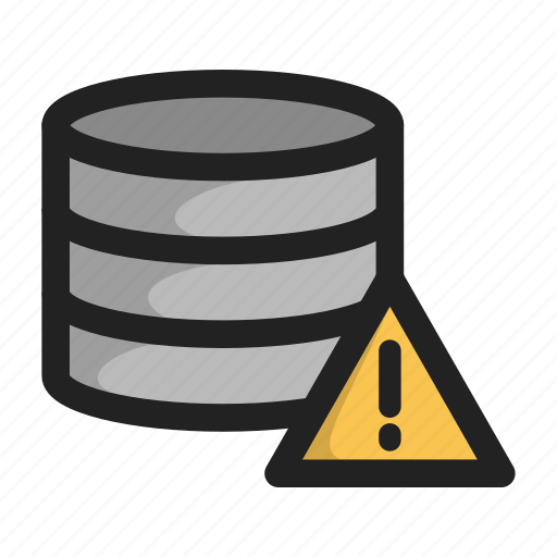 database, error, server, storage, warnign icon
