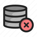 close, cross, database, delete, server, storage icon