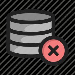 close, cross, database, delete, server, storage icon
