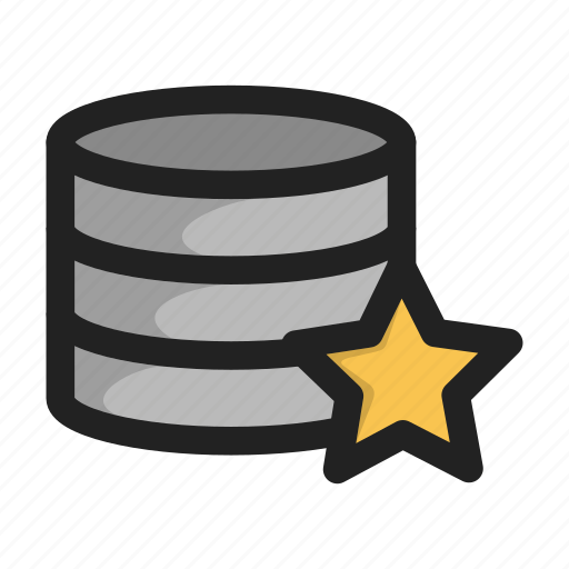 database, favorite, hd, server, star, storage icon