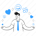 welcome, interface, social, event, celebrate, sparkles, heart, smiley, man