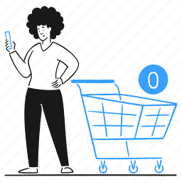 zero, purchase, interface, shopping, cart, mobile, phone, online, empty, store, market