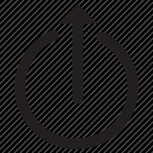 arrow, circle, interface, move, power, up icon