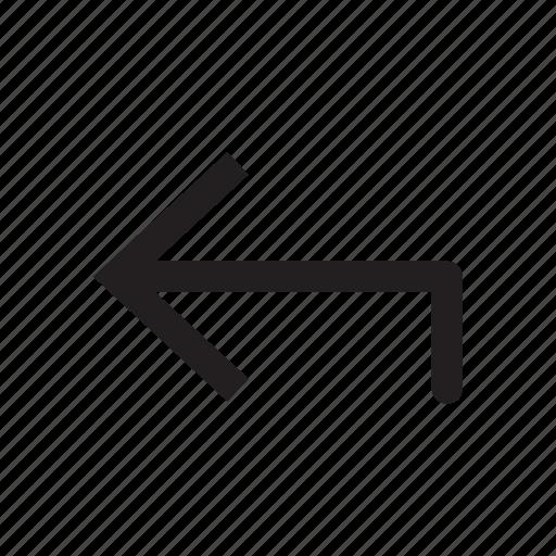 arrow, corner, interface, left, road, sign, street icon