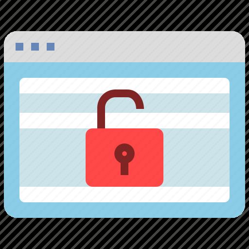 browser, computer, interface, unlock, window icon