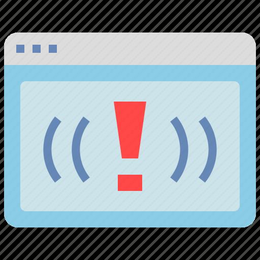 browser, error, interface, problem, warning icon