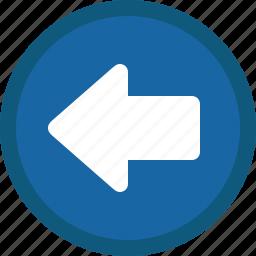 arrow, back, blue, circle, left, previous icon