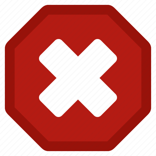 cancel, close, delete, dismiss, error, red, stop, warning icon