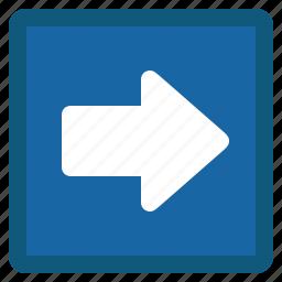 arrow, blue, forward, next, right, square icon