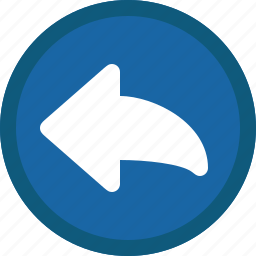 arrow, blue, circle, left, mail, previous, reply icon
