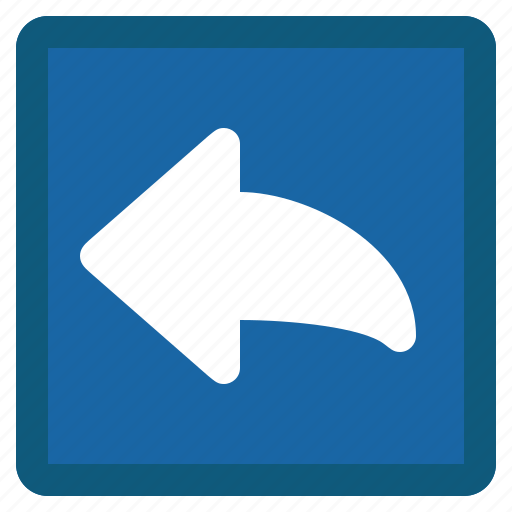 arrow, blue, left, mail, previous, reply, square icon