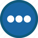 blue, circle, details, menu, more, options icon