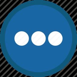 blue, circle, details, menu, more, options icon