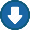 arrow, blue, circle, down, next icon