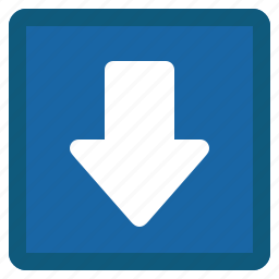 arrow, blue, down, next, square icon