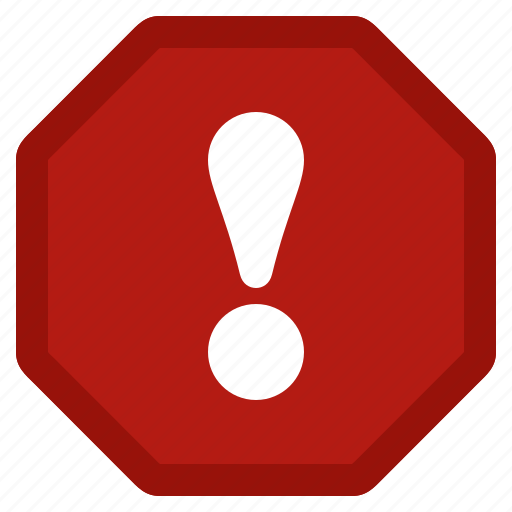 alert, danger, error, exclamation, red, stop, warning icon