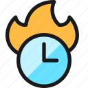 time, clock, fire