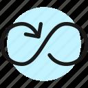 button, loop, arrow