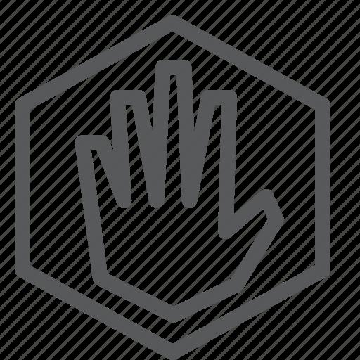 alert, block, deny, feedback, hand, hexagon, sign, stop icon