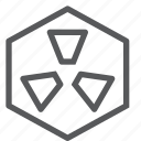 dangerous, feedback, hexagon, interface, nuclear, radiation, radioactive, warning icon