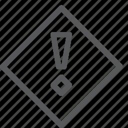 alert, attention, diamond, help, notice, notification, report, warning icon