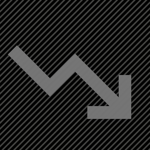 arrow, decreasing, down, fall, feedback, interface, low icon