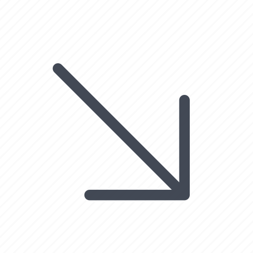 arrow, diagonal, down, right icon