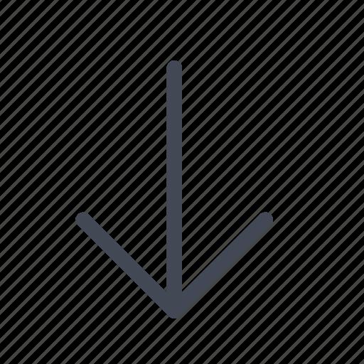 arrow, down, downward icon