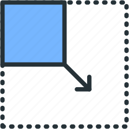 expand, from, interface, move, size icon