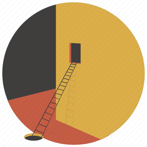 architecture, building, house, ladder, painting, stairs, window icon
