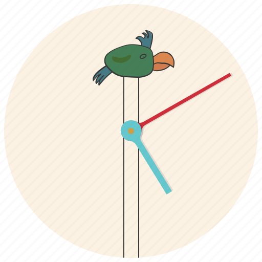 bird, clock, interior, interior element, parrot, time, watch icon