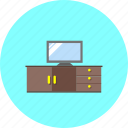 display, furniture, interior, monitor, television, tv, tv stand icon