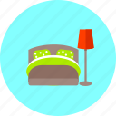 bed, bedroom, furniture, home, interior, lamp, room icon