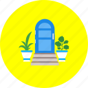 door, doorway, entrance, entry, flowers, in-going, ingress icon