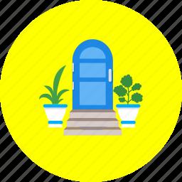 door, doorway, entrance, entry, flowers, in-going, ingress icon