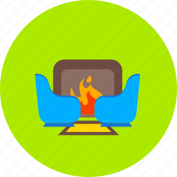 burn, chimney, fire, fireplace, furniture, hearth, warm icon