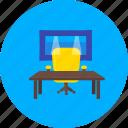 agency, bureau, ex officio, office, office chair, office table, pantry icon