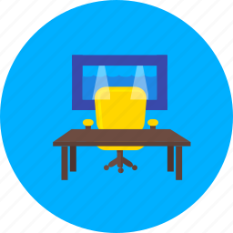 agency, bureau, ex officio, office, office chair, office table, pantry icon