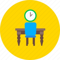 clock, design, furniture, home, interior, table and chair, wooden icon