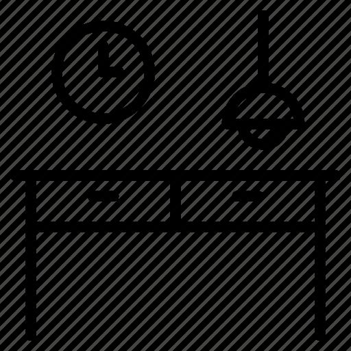 celing lamp, clock, desk, drawer, furniture, interior, table icon