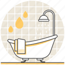 bath, bathroom, bathtub, design, interior, room, shower icon